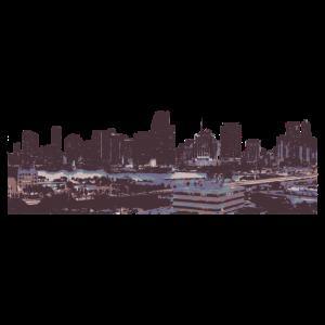 Skyline und Hafen von Miami beim Sonnenuntergang