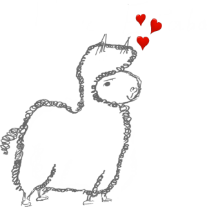 Alpaka Liebe mit vielen Herzen Geschenkidee