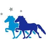 Two Icelandic Horses with silver-metallic Stars