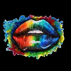 Bunte Lippen Graffiti - Yolo-Artwork