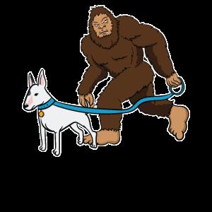 Bullterrier Hund Bigfoot Yeti Sasquatch Geschenk