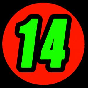 Trendiges Zahlenlogo Nummer 14 T-Shirt