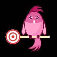 Vogel mit Zielscheibe