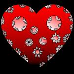 Herz mit Blumen in Rot