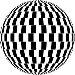 Optische Täuschung Kugel schwarz weiss lustig