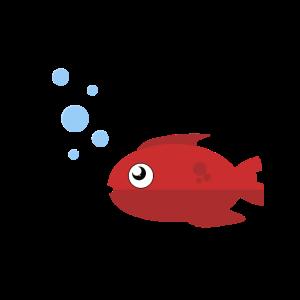 Süßer Comic Fisch guckt Luftblasen im Meer an