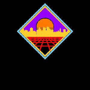 80er Jahre Synthwave Geometric Skyline Sunrise Geschenk
