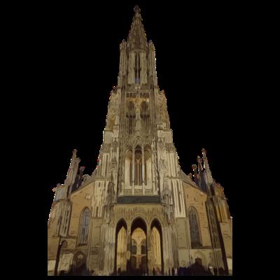Ulmer Münster Ulm Kirche Dom Schwaben Württemberg - Verschenke dieses coole Ulmer Münster Design als Gastgeschenk an Freunde oder Familie. Dieses T-Shirt ist das perfekte Geschenk an Weihnachten und zu Geburtstagen. Die höchste Kirche der Welt. - spätzle,schwäbisch,Wiblingen,Weihnachtsmarkt,Ulmer,Ulm,Söflingen,Symbol,Schwaben,Schwabe,Neu-Ulm,Nabada,Münster,Kirchturm,Kirche,Heimat,Gebäude,Donau,Dom,Christentum,Christ,Baden-Württemberg