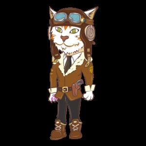Katze Beruf Job Pilot Flugzeug lustig Geschenk