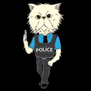 Katze Beruf Job Polizei Uniform lustig Geschenk