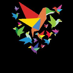 Origami Vogel Herz Tierfreund Kunst Papagei