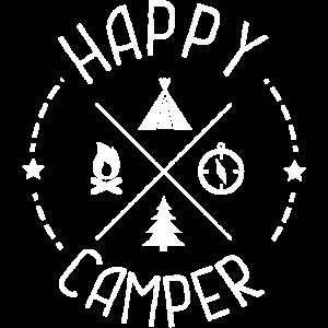 fröhlicher camper zelten lagerfeuer
