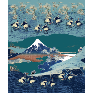 hokusai art pattern transparent