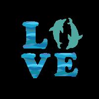 Love Delfin Logo Silhouette Blau Grün