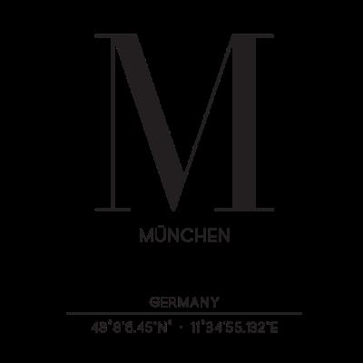 München • Stadt • Kordinaten • Geschenk • meine - Schönes Layout mit dem Anfangsbuchstaben von Müchen, Kordinaten, schlicht, Geschenk, Geschenkidee, Liebe deine Stadt - fußball,deutschland,bayern,Stadt,München,Kordinaten,Geschenkidee,Geschenk