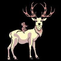 Weißer Hirsch mit Maus auf dem Rücken