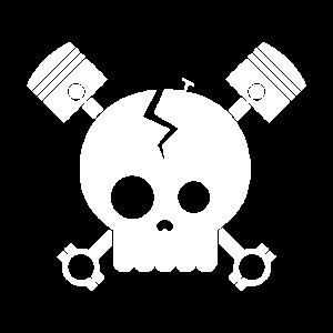 Skull Schädel Zwei Kolben Zylinder Motor Geschenk