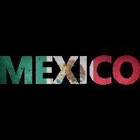 Mexico mit Flagge im Hintergrund