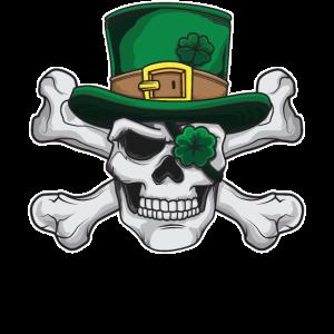 St Patricks Day Pirat Totenkopf mit grünem Hut