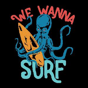 Surfen Krake Octopus Wellenreiten