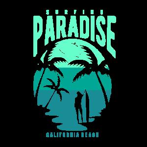Surfbrett Paradies Strand Palmen