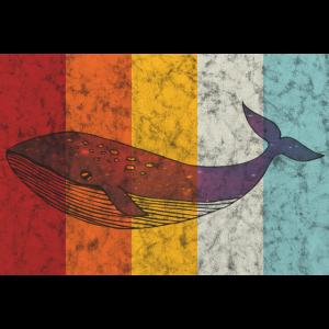 Wal im Retro-Look Orca Tier Geschenk Ozean Meer
