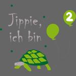 Schildkröte mit Luftballon zum zweiten Geburtstag