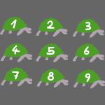 9 süße Schildkröten zum Zählen üben für Kinder
