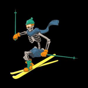 Ski Geschenk Skier Skifahren Skelett Knochen Shirt