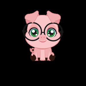 XASTY süßes Schwein mit Brille Nerd Glubschi Geek