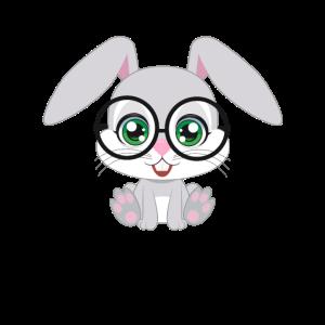 XASTY süße Hase mit Brille Nerd Glubschi Geek