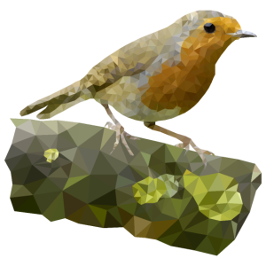 Low Poly Robin auf einem Baumstamm