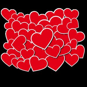 Stapel an Herzen für Verliebte am Valentinstag