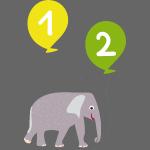 Geburtstagsmotiv zum zweiten Geburtstag für Kinder