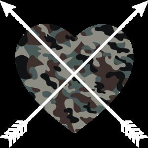 Camouflage Herz - Pfeil Herz Armee Muster