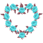 Blue roses heart T-shirt decoration by Patjila