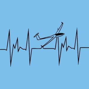 Herzschlag Segelflieger Segelfliegen T-Shirt