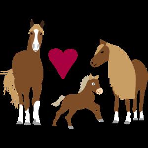 Pferdefamilie in love