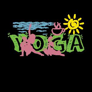 I love yoga am Strand bei Sonnenschein mit Kaffee
