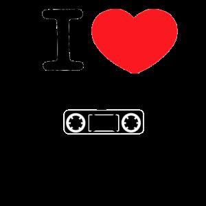 I love Musikkassetten mit rotem Herz