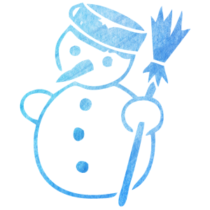 Ein schöner süßer Schneemann mit einem Besen