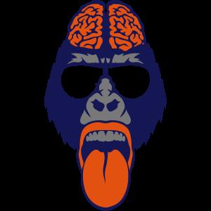 Gorilla-Gehirn Lünette Zunge zieht Gehirn