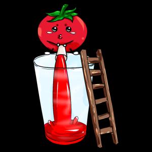Tomate pinkelt Tomatensaft