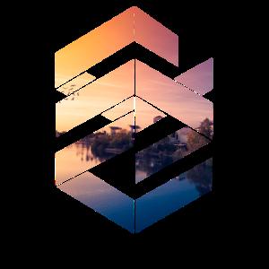 Colorful Sunset Lake Cube T-Shirt