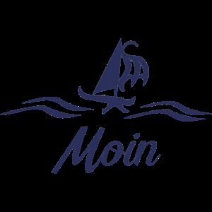 Moin mit Schiff blau