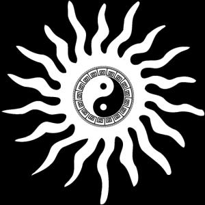 Yin Yang im Tribal Stern weiß