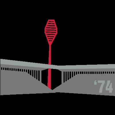 schwatzgelb WS74 MP - Früher wie heute ein prägendes Element der Dortmunder Skyline - die Masten des größten Stadions. Heute gelbe Pylone, damals rote Flutlichter. Nur von schwatzgelb.de! - flutlicht,dortmund,Westfalenstadion,Stadion,Flutlicht,Ecke,Dortmund,75,74