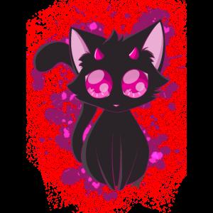 Black Devil Kitty in Pink