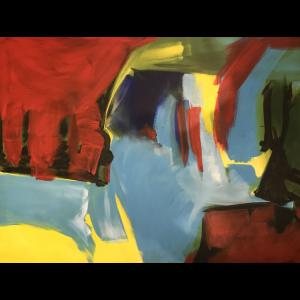 Abstrakt rot gelb tuerkis