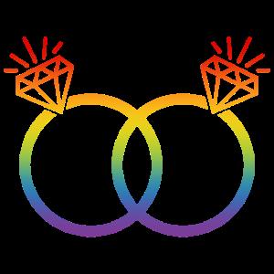 LGBT Eheringe Hochzeit JGA Paar Regenbogen Diamant
